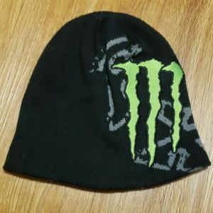 Fox racing monster energy black knit beanie hat